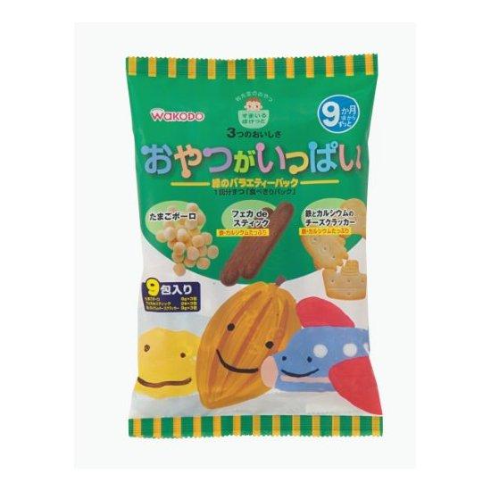 日本 和光堂 高钙高铁3种混合磨牙饼干(9月) 9包×6袋