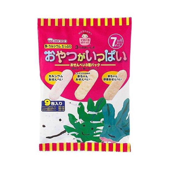 Wakodo 和光堂 婴幼儿磨牙饼干三种口味米饼混合装