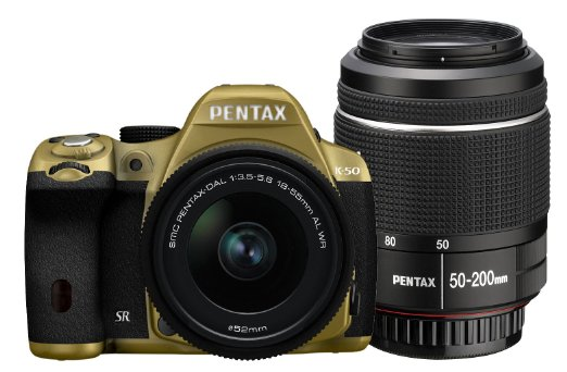 PENTAX 宾得 K-50 DAL 双防水镜头单反套机(18-55WR/50-200WR)香槟色