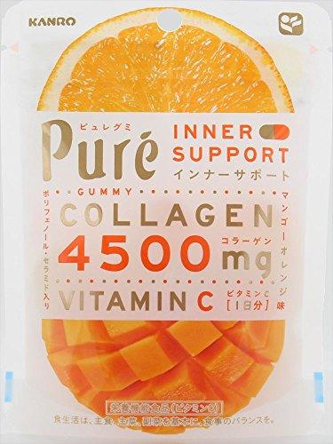日本 kanro pure芒果橙子 胶原蛋白软糖 63g×6袋